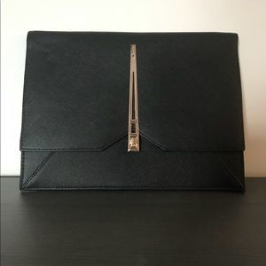 ASOS Black Envelope Clutch with Geo Lock